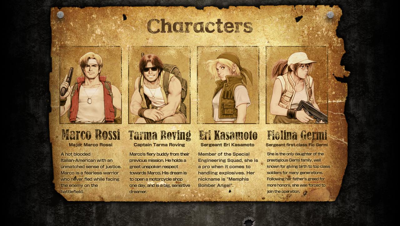 Metal Slug X Characters
